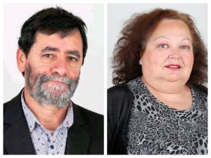 Miguel Ángel Campanella, quinto pre-candidato a diputado nacional, junto a Cristina Mullen Rodriguez, primera pre-candidata a concejal por el frente.
